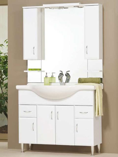 Bianka 105 fehér fürdőszobabútor, lábbal