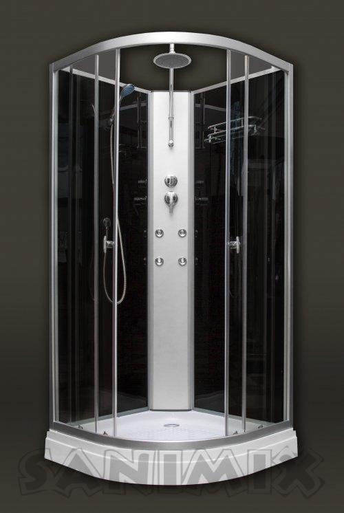 Sanimix Hidromasszázs zuhanykabin negyedköríves fekete színű